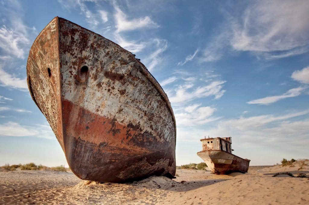 ship graveyard in the Aral Sea